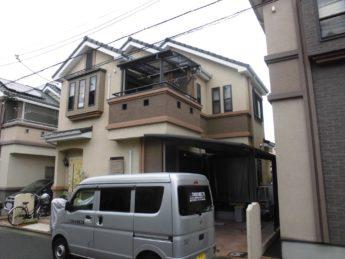 大阪府堺市中区W様邸 屋根 外壁塗装及び防水工事-施工前