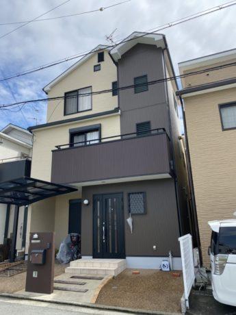 大阪府堺市西区H様邸 屋根 外壁塗装及び防水工事-施工後