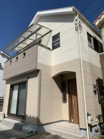 大阪府堺市北区N様邸 屋根 外壁塗装工事及び防水工事-施工後
